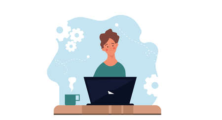 Thinking sad man on laptop vector flat illustration business concept. Professional human solution question problem work. Confusion guy brainstorming head decision. Character inspiration job thought Illustration