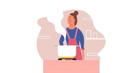 Woman cooking food on kitchen vector people illustration. Female happy chef with apron preparation dinner. Housewife girl with stove pot dinner and smiling character. Housework wife domestic image