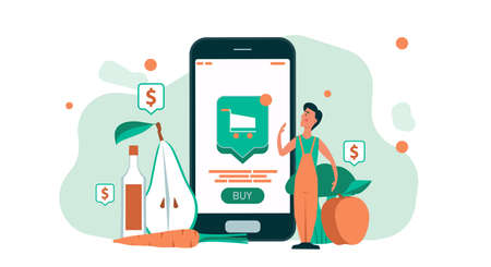 Man shopping grocery online with mobile store supermarket business. People with smartphone food delivery. Concept customer order internet from home service. Sale retail market commerce app phone Illustration