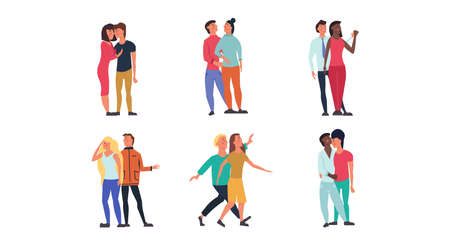Couple walking together people love illustration vector. Two man and woman character happy romantic family set. Cute lifestyle boyfriend and girlfriend figure. Pretty smile human group concept