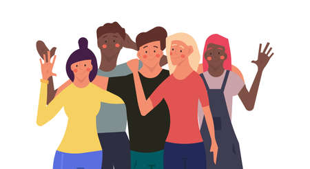 People celebration together happy group man and woman vector illustration. Party friend concept happiness cheerful success character. Smiling teamwork event company human community crowd holiday