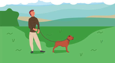 Man walking in park with dog vector illustration. Outdoor cartoon activity with animal pet. Happy cute friend play in grass. Human relax leisure nature background. Friendship family concept Illustration