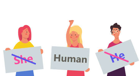 Gender neutral vector illustration person. He , she - human design symbol. Equality sex tolerance normal break. Unisex reveal norms character different. Identity right support background man and woman Illustration