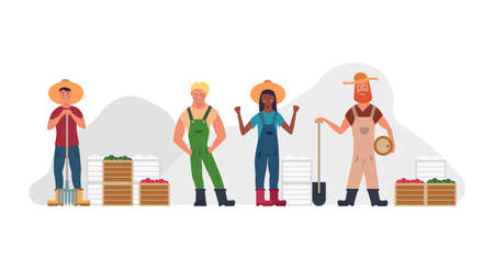 Farmer people set agriculture cartoon vector illustration. Isolated man and woman with hat, vegetable food. Harvest rural happy character collection. Village profession gardener ranch with fork , rake