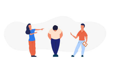 Bullying a fat man person problem violence student school vector illustration. Overweight character abuse sad depressed conflict. Ugly body aggression adversity. Public guy emotion harassment