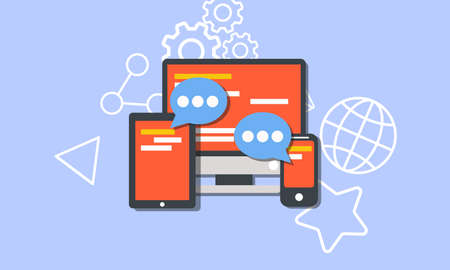 Social media concept vector flat illustration design. Community online on computer, tablet or smartphone. Vectores
