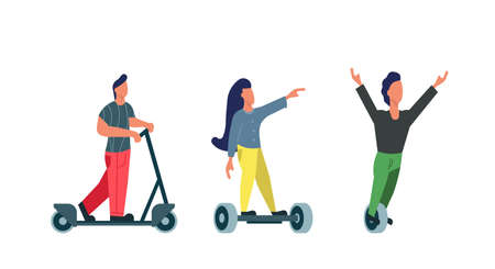 People drive electric transport modern urban vector illustration eco city. Active vehicle technology with people ride bike concept. Electric device travel character woman and man on summer lifestyle