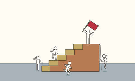 Doodle leader climbing vector sketch business success illustration. Team people with leadership cartoon teamwork achievement progress with red flag.