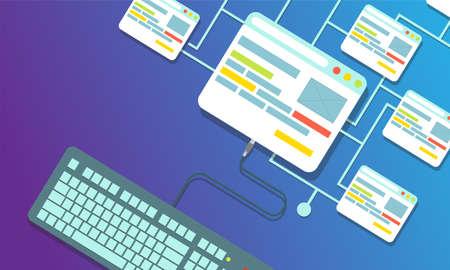 Web design concept vector flat illustration design. Page website building process development.