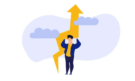 Business analytics in cloud arrow vector leadership company. People challenge teamwork up. Flat job marketing concept illustration. Growth with rocket investment service. Man trend result