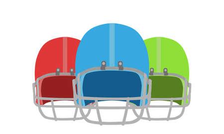 Football helmet vector American icon equipment isolated sport illustration white set blue