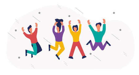 Happy people jumping vector illustration fun background. Young people woman and man jump celebration party active. Action crowd freedom motion concept character. Human together enjoy team friend