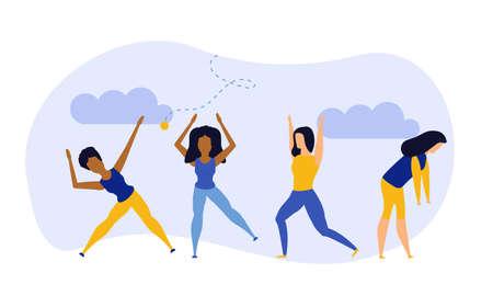 Achievement exercise flat health body mind vector concept illustration. Office multitasking posture person. Sport fitness cartoon background. Lifestyle harmony yoga meditate zen. Pose training workout