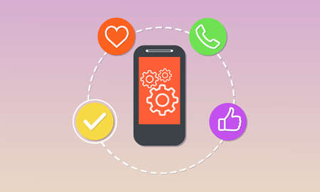 The process of developing a mobile application concept vector flat illustration design Vectores