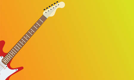 Guitar electric red vector rock music illustration. Instrument musical white isolated background. Sound string design object equipment bass Vectores