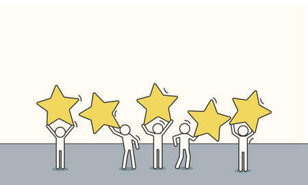 Doodle sketch customer review five star people rating feedback. Business concept satisfaction illustration service flat person. Quality opinion client evaluation experience support. Online ranking