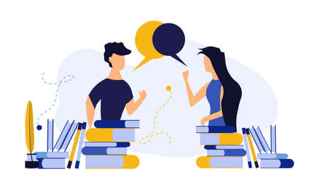 Vector person communication with woman and man concept illustration. Social network media connection people with technology chat. Teamwork bubble community people group message discussion talk connect Vectores