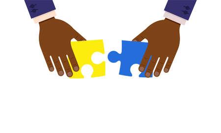 Teamwork vector flat concept illustraion design. Businessmen hands create puzzle together.