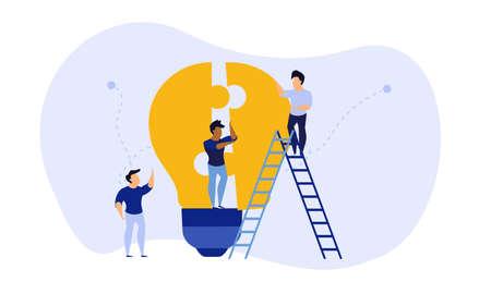 Business teamwork building lightbulb puzzle vector work illustration concept. Person businessman cooperation together jigsaw piece. Man group unity fit part shape. Job support partner design