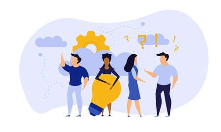 People teamwork idea vector illustration. Business work balance exercise harmony. Time investment concept background. Team mind man and woman group banner office. Career company success coworker Vectores
