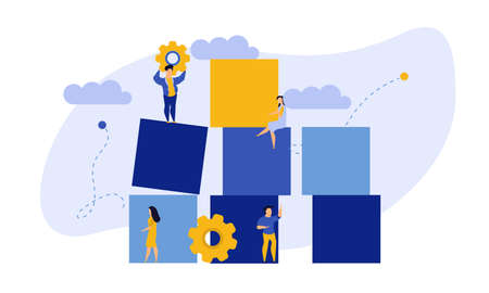 Advertising puzzle from cube block vector flat illustration. Analytics chart business job people teamwork. Community deal banner cooperation jigsaw. Human alliance office group work company team