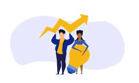 Business analytics in cloud arrow vector leadership company. People challenge teamwork up. Flat job marketing concept illustration. Growth with rocket investment service. Man and woman trend result Vectores