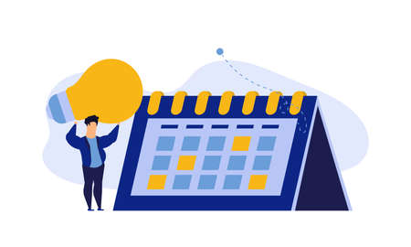 Calendar schedule week vector concept illustration. Student appointment employee agenda man and woman. Business plan with clock,pencil. Date time meeting day. Coworker banner office teamwork assign Vectores