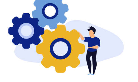 Employee leader building virtual business in action illustration. Career success development grow vector allocation. Future forward teamwork character. Online work global cooperation efficient