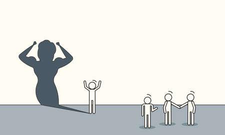 Aspiration career creative motivation ordinary super shadow. Woman potential superhero business concept vector. Success achievement growth challenge illustration. Female target office dream work idea Vectores