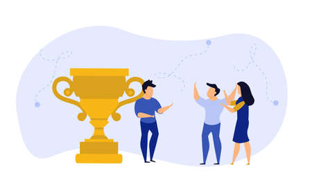 Business people winner prize customer vector illustration employee. Man and woman celebration first quality rank. Office people reward cup trophy up success. Award leader victory goal challenge Vectores