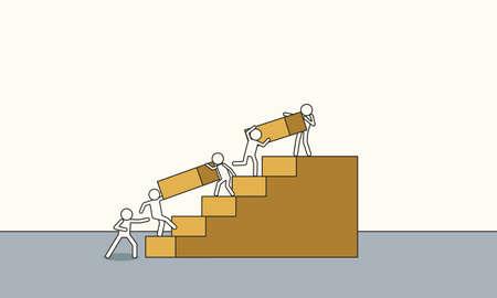 Business growth vector concept illustration. Doodle mission ambition success finance profit. Progress direction leadership background. Teamwork increase upward career challenge. Solution grow