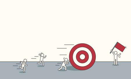 Doodle business sketch stick man vector iilustration concept. Marketing target strategy goal. Finance direction leadership banner.