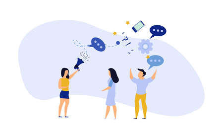 People announce advertising with megaphone vector illustration. Awareness focus loud speaker man and woman. Business banner marketing group media. Speech news promotion network leadership poster
