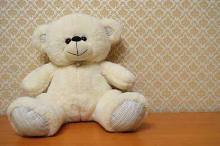 Toy teddy bear cute soft animal. Soft childhood object gift plush funny