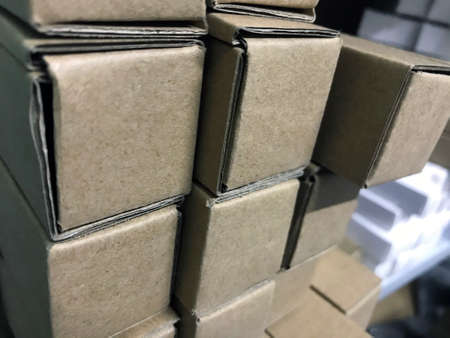 Box warehouse industry business shipping distribution package logistic. Factory shelf cardboard box storage cargo. Packaging delivery pallet store good. Stock brown container stack photography