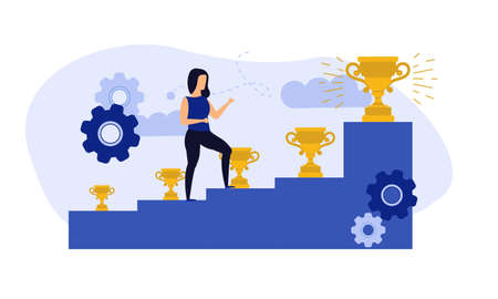 Achievement target career challenge vector flat illustration. Woman kpi walking steps to gold cup. Job journey business success leader ambition. Goal progress up climbing performance banner
