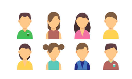 People avatar men and women characters set flat vector illustration design. Web cartoon portrait