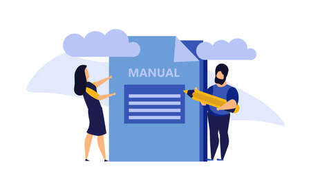 Man and woman create document book manual. Business handbook advice content vector. Online web paper digital illustration article journalism. Social marketing blogging design. Promotion banner guide Illustration