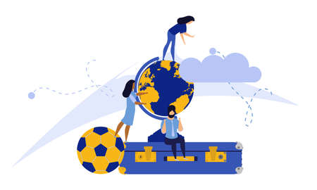 Challenge journey man and woman vector concept illustration with suitcase,ball,cap. Business achievement career success goal. Target aim direction way. Travel motivation job banner. Trekking adventure