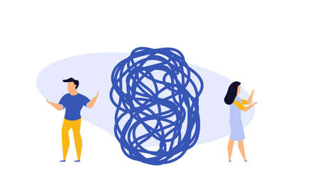 Business challenge vector achievement work progress. Tangle tangled conceptual abstract strategy teamwork people illustration. Solution clew ball career background. Searching motivation metaphor