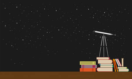 Education future concept vector flat illustration.Telescope stands on books against the background of the night sky