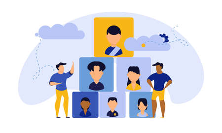 Job career business success agency audience vector illustration. Customer looking office company choice. Banner work man and woman recruitment search candidate. Hire vacancy resume talent CV network