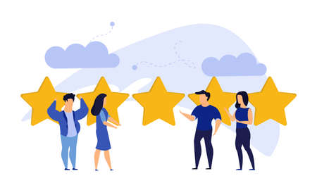 Customer review five star choice vector illustration satisfaction man and woman. Concept business success feedback good quality service. Best rate background experience vote client banner. Award like Illustration