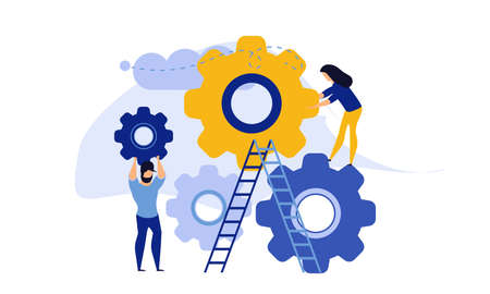 Man and woman business organization with circle gear vector concept illustration mechanism teamwork. Skill job cooperation coworker person. Group company process development structure workforce banner Illustration