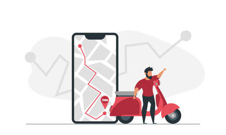 A man on a scooter uses a navigator on his phone to get to his destination vector illustration Illustration