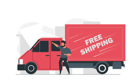 A male courier delivers goods around the city in a truck. Free shipping vector illustration