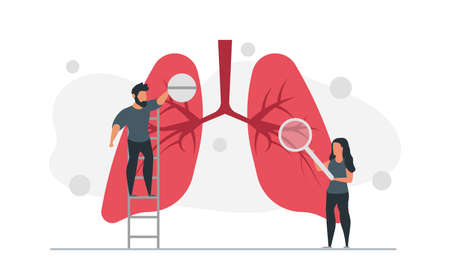 Man with pill and woman with magnifier treat lungs of people vector illustration