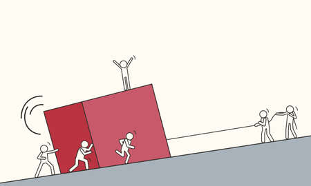 Little drawn people lift a big red cube up the mountain together. Vector illustration of team cohesion