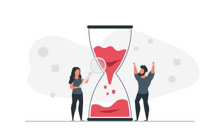 Work time concept vector illustration with hourglass. Male and female freelancers online