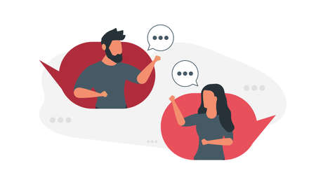 A conversation between two people, a man and a woman. Social media concept vector illustration Illustration